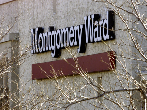 MONTGOMERY WARD LOGO ON OUTSIDE FRONT OF LAKEWOOD, COLORADO FACILITY.