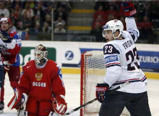 Brown of the U.S. celebrates after scoring against Russia during their IIHF World Hockey Championship semifinal game in Bern