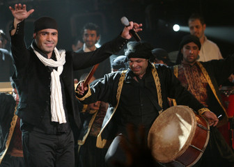 Lebanese singer Assi el Hilani performs during a TV show in Beirut