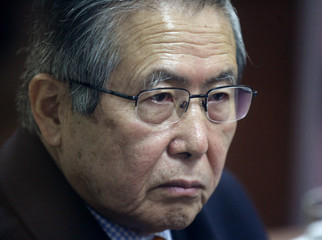 Former Peruvian President Alberto Fujimori  attends his trial at the Special Police Headquarters in Lima