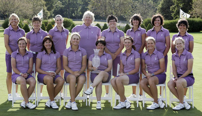 European Solheim Cup team members pose for pictures for 2009 Solheim Cup golf tournament at Rich Harvest Farm in Sugar Grove
