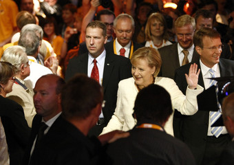 German Chancellor Merkel arrives for the final election campaign rally in Berlin