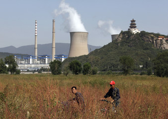 Two men push their bicycles through tall grass in front of a coal-burning power station located on the outskirts of Beijing