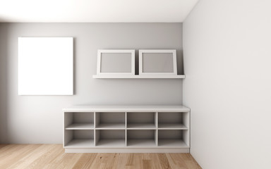 Room with cabinet and shelf