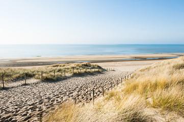 Sea coast in Noordwijk, Netherlands, Europe.