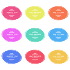 Set of colorful round banners. Abstract shapes for design with sample text