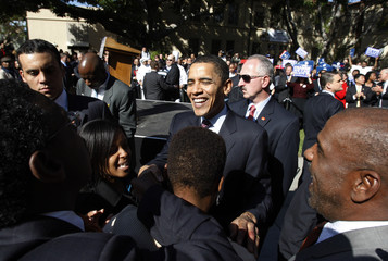 Democratic presidential candidate Obama greets supporters during a rally in Los Angeles