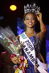 Igwe adjusts her crown after she won the 2008 Most Beautiful Girl in Nigeria beauty pageant in Lagos