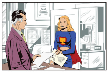 A businessman gives an assignment to a girl in a superhero costume.