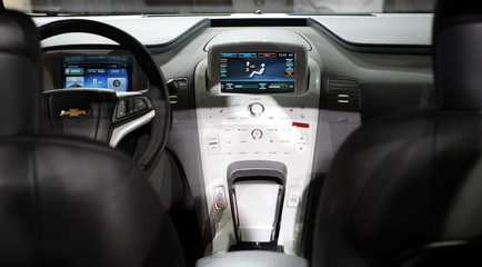 The interior of the Chevrolet Volt is seen after the Volt was unveiled at a General Motors centennial celebration in Detroit
