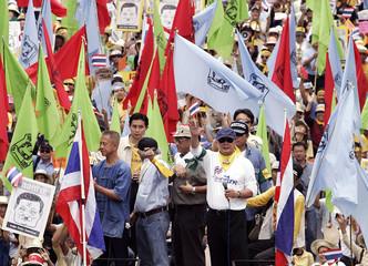 Thai media tycoon Sondhi and former Bangkok governor Chamlong lead demonstrators in Bangkok