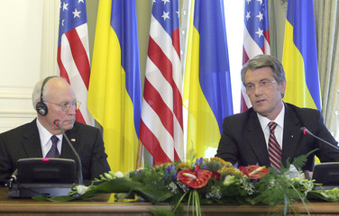 U.S. Vice President Dick Cheney and Ukraine's President Viktor Yushchenko take part in a joint news conference after their meeting in Kiev