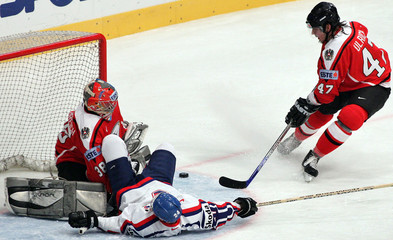 Austria's Martin Ulrich rushes to help his goaltender Patrick Machreich after he hooked Palffy of ...