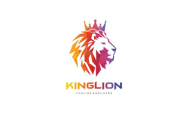 Colorful King Lion Logo - Polygonal Lion Head Vector