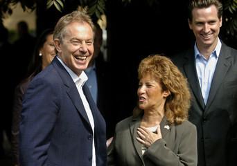 British PM Blair meets Delancey Street co-founder Silbert as San Francisco Mayor Gavin Newsom smiles in San Francisco