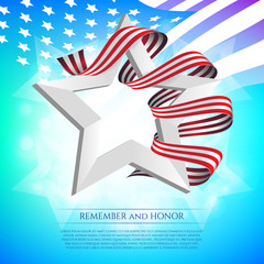 Happy Memorial Day greeting card with national flag colors ribbon and white star on colorful background. Remember and honor. Can be used for design your website or print publications and other.