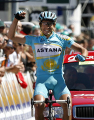Astana's Colom crosses the finish line of the Nyons-Digne fifth stage of the Dauphine cycling race in Digne-les-Bains