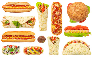 Fast Food Set Isolated on White Background