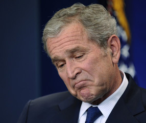 U.S. President Bush is pictured during his last news conference at the White House in Washington