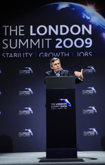 Britain's Prime Minister Gordon Brown speaks at a news conference after the G20 summit at the ExCel centre in east London