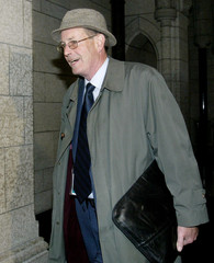 Bank of Canada Governor David Dodge arrives to testify at a committee hearing on Parliament Hill.