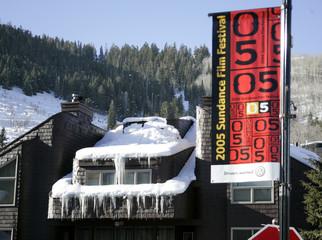 A street banner advertising the 2005 Sundance Film Festival is shown in Park City.