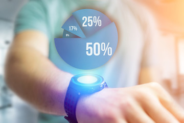 Blue survey graph interface with business theme going out a smartwatch - Technology concept