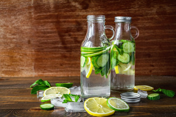 Refreshing taste of lime, lemon and cucumber in small glass bottles