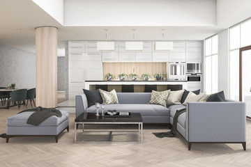 3d rendering set of sofa in living room near kitchen bar and bar stool