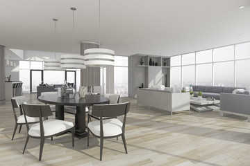 3d rendering dining zone with table and chair near set of sofa in living room