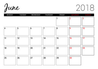June 2018. Printable calendar planner design template. Week starts on Monday. Stationery design
