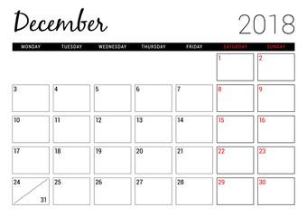 December 2018. Printable calendar planner design template. Week starts on Monday. Stationery design