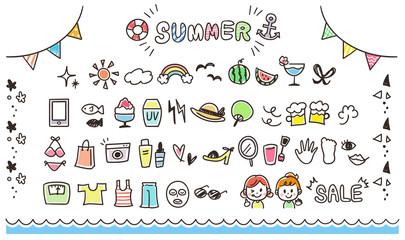 ガーリーな手描きアイコンセット 夏(カラフル)