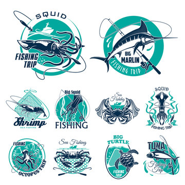 Vector fish symbols for fishing trip icons