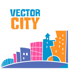 Simple fantastic house, Vector city lettering. Use it for Exterior construction designs including city buildings. Beautiful modern cottage and colorful cityscape. Isolated on a white background
