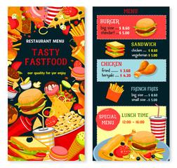 Vector fast food menu poster