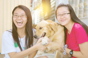 Asian girls with dog