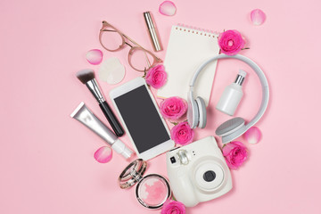 Fashion Cosmetic Makeup with Rose. Flat lay, top view on pink  background