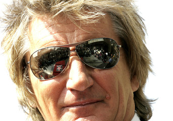 British rocker Rod Stewart looks at the star he is going to receive on the Hollywood Walk of Fame in..