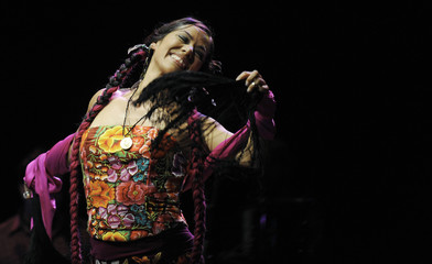 Mexican singer Lila Downs performs during the annual Conde Duque concert in Madrid