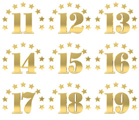 Set of golden digit from eleven to nineteen, decorated with a circle of stars. 3D illustration