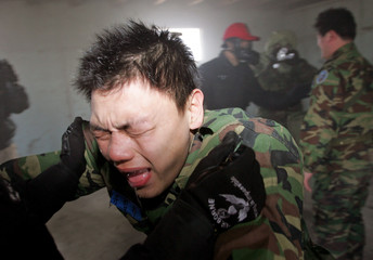 South Korean teenager chokes on tear gas during a military exercise in Seoul