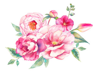 Watercolor bouquet of flowers. Hand painted colorful floral composition isolated on white background. Vintage style peonies, rose, tulip and leaves posy.