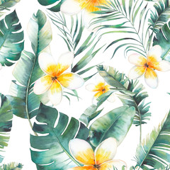 Summer plumeria flowers, palm tree and banana leaves seamless pattern. Watercolor floral texture with exotic flowers, green branches on white background. Hand drawn tropical wallpaper design