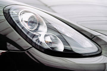 Black Car Front Headlight View
