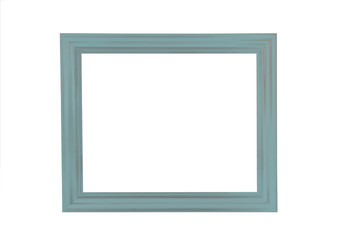 Mint blue empty picture frame on a white background