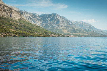 View of the rocky mountains from the sea