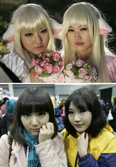 A combination picture shows girls posing before and after they dress up as a character from the Japanese animation 'Chobits' at the monthly Seoul Comic World event in Seoul