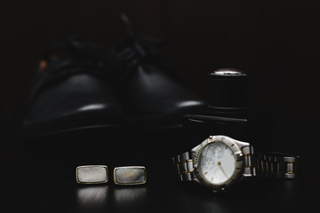 mans accessories. Shoes with watch and perfume