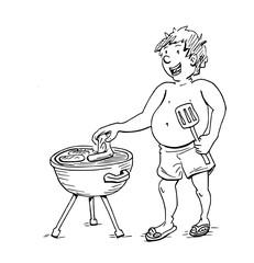 Dikke man bij barbecue